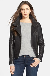 Mackage Stand Collar Lambskin Leather Jacket Black