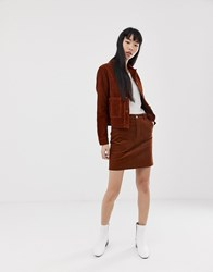 New Look Skirt With Button Front In Cord Tan