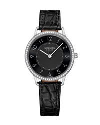 Slim D'hermes Watch With Diamonds And Black Alligator Strap 0.47Tcw