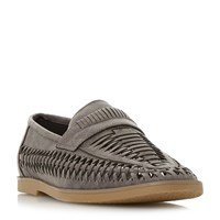 Howick Brazill Woven Saddle Loafers Grey