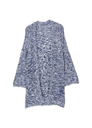 Mango Openwork Cotton Cardigan Blue