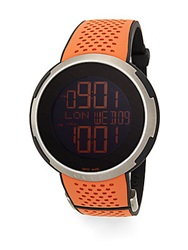 I Gucci Stainless Steel Rubber Strap Watch Black Orange