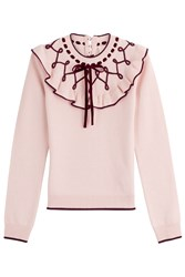Roksanda Ilincic Wool Cashmere Pullover With Ruffles Rose