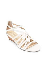 Me Too Sofie Leather Wedge Sandals White