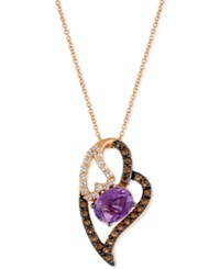 Le Vian Amethyst 1 3 8 Ct. T.W. White Topaz 1 3 Ct. T.W. And Smoky Quartz 1 3 Ct. T.W. Heart Pendant Necklace In 14K Rose Gold