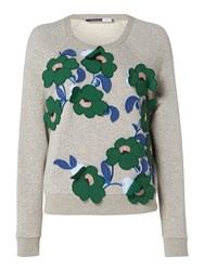 Sportmax Code Knitted Sweatshirt With Embellished Flowers Grey
