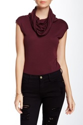 Three Dots Cap Sleeve Cowl Neck Blouse Red