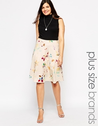Club L Plus Size A Line Skirt In Bird Print White
