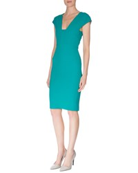 Roland Mouret Cap Sleeve Back Cutout Sheath Dress Sea Green