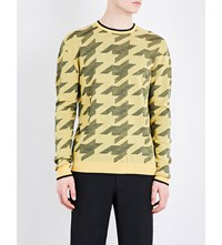 Stella Mccartney Houndstooth Wool Jumper Canary Colourway