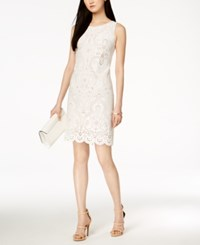 Jessica Howard Laser Cut Sheath Dress Ivory