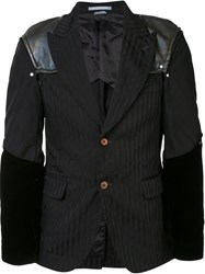 Comme Des Garcons Homme Plus Padded Shoulders Pinstripe Jacket Black