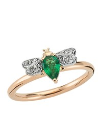 Bee Goddess Rose Gold Diamond And Emerald Queen Ring White