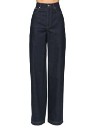 Dolce And Gabbana High Waist Wide Leg Cotton Denim Pants Dark Blue