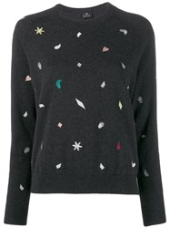 Paul Smith Ps Embroidered Fitted Sweater Grey