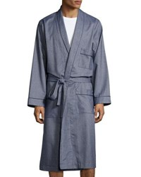 Neiman Marcus Tweed Robe With Piping Blue