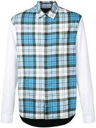 J.W.Anderson Checked Shirt Men Cotton Polyamide Polyurethane Viscose 48 Blue
