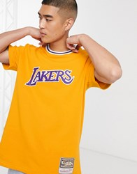Mitchell And Ness La Lakers French Terry Heavy T Shirt In Yellow