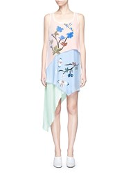 Helen Lee Flying Bunny Print Pleated Asymmetric Tiered Dress Multi Colour