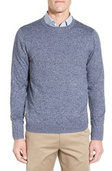 Nordstrom Men's Big And Tall Men's Shop Cotton And Cashmere Crewneck Sweater Blue Estate Jaspe
