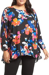 Vince Camuto Plus Size Women's Floral Rendezvous Pleat Back High Low Blouse
