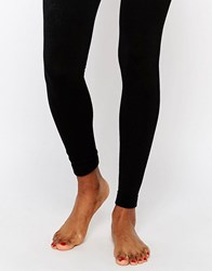 Plush Fleece Lined Footless Tights Black