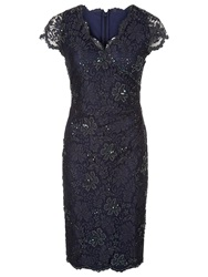 Jacques Vert Mid Lace Evening Dress Navy