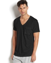 2Xist 2 X Ist Men's Loungewear Slub Cargo Pocket T Shirt Black