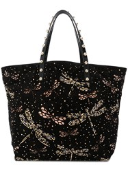 Red Valentino Embellished Dragonfly Tote Black