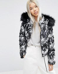 Asos White Cropped Padded Jacket With Fur Hood Multi