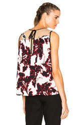 Msgm Printed Sleeveless Top In Black Abstract Black Abstract