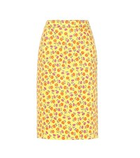 Prada Cotton Blend Twill Skirt Yellow