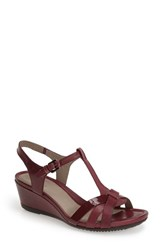 Women's Ecco 'Touch 45' T Strap Wedge Sandal Burgundy