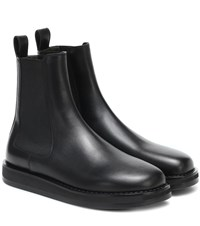 The Row Gaia Leather Ankle Boots Black
