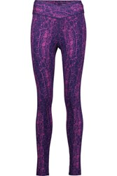 Yummie Tummie By Heather Thomson Hannah Printed Cotton Blend Jersey Leggings Purple