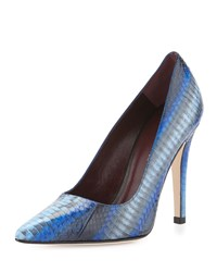 Etienne Aigner Indie Snakeskin Pointed Toe Pump Ink Blue M