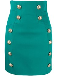 Balmain Buttoned Detailed Mini Skirt Blue
