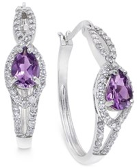 Macy's Amethyst 1 1 3 Ct. T.W. And Swarovski Zirconia Pave Hoop Earrings In Sterling Silver