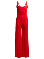 Galvan Sunrise Sleeveless Crepe Jumpsuit Red