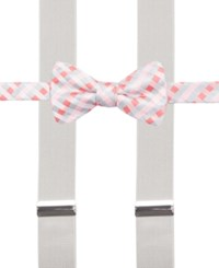 Alfani Spectrum Max Gingham Pre Tied Bow Tie And Suspender Set Only At Macy's Coral