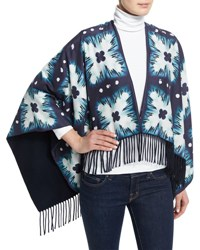 Burberry Floral Square Tie Dye Poncho Ink