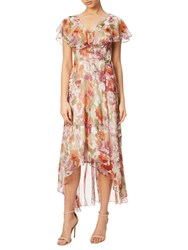 Adrianna Papell Floral Print Wrap Dress With Long Ruffle Tangerine Multi