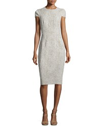 Michael Kors Cap Sleeve Jewel Neck Sheath Dress Hemp White Women's