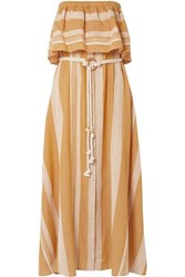 Lemlem Derartu Strapless Striped Cotton Gauze Maxi Dress Saffron