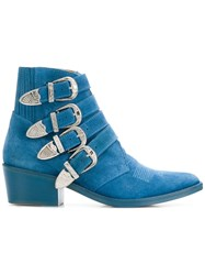 Toga Pulla Buckled Boots Blue