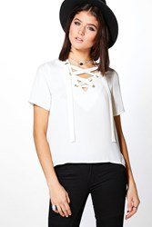 Boohoo Woven Lace Up Short Sleeve T Shirt White