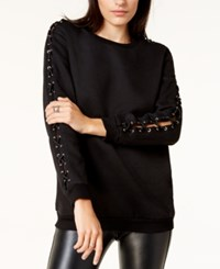 By Glamorous Laced Sleeve Sweater Created For Macy's Black