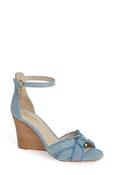 Seychelles Sunrays Wedge Sandal Light Blue Fabric