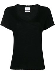 Barrie Distressed Cashmere T Shirt Black