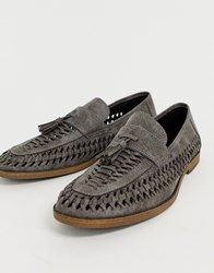 New Look Faux Leather Woven Tassel Loafer In Grey